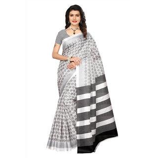 Swaron Women's White and Black Colored Printed Bhagalpuri Silk Work Wear Saree