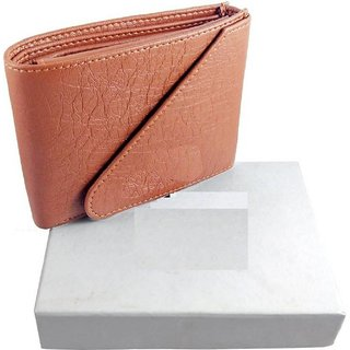 Tri-Fold Pure Tan-Brown Leather Stylish Wallet for Men