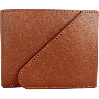 Tri-Fold Pure Tan-Brown Leather Stylish Wallet