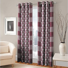 RD TREND 100  Polyster Eyelet 150 TC Set of 2 Door Curtain- Color Pink Size  7ft x 4ft  84 inch x 48 inch