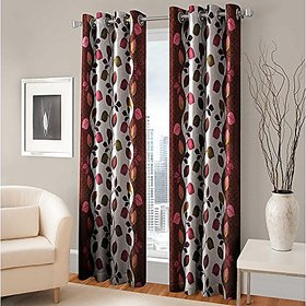 RD TREND 100  Polyster Eyelet 150 TC Single Door Curtain- Color Brown Size  7ft x 4ft  84 inch x 48 inch
