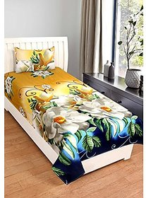 RD TREND 3D Printed Single Bedsheet With 1 Pillow Cover