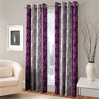 RD TREND 100  Polyster Eyelet 150 TC Single Door Curtain- Color Purple Size  7ft x 4ft  84 inch x 48 inch