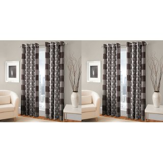RD TREND 100  Polyster Eyelet 150 TC Set of 4 Door Curtain- Color Brown Size  7ft x 4ft  84 inch x 48 inch