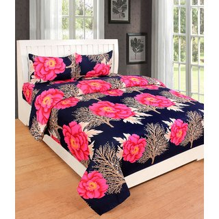 RD Trend Red Polyester 3D Printed 140 Tc Set of 1 Double Bedsheet With 2 Pillow Covers 235 cm x 225 cm