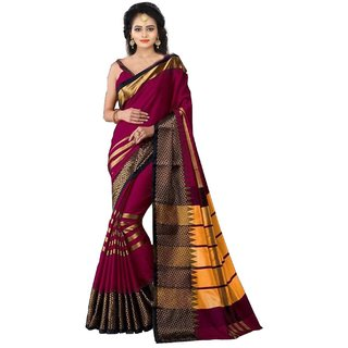 Mastani Women's Pink Woven Design Saree With Blouse