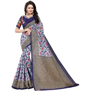 Mastani Women's Blue Floral Saree With Blouse