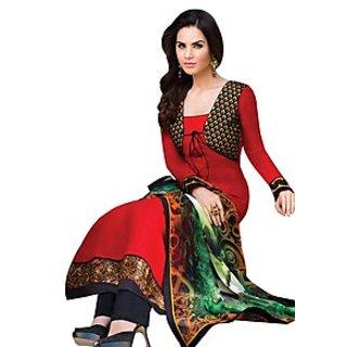 IndiWeaves Orange Dupion Silk Lace Salwar Suit Dress Material (Unstitched)
