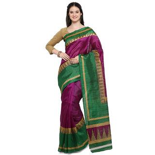 7d50f91d3bc Craftsvilla Women s Designer Fancy Bhagalpuri Printed Magenta   Green Saree  With Blouse Piece
