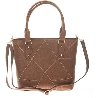Aliado Brown Self Design Tote bag for women
