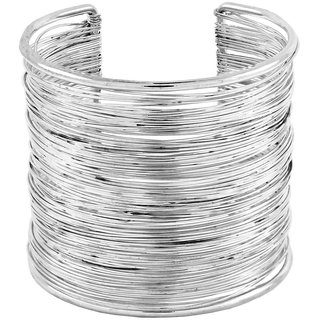 Party Statement Mesh Imported Rhodium Silver Free Size Cuff Kada Bangle Bracelet For Girls Women