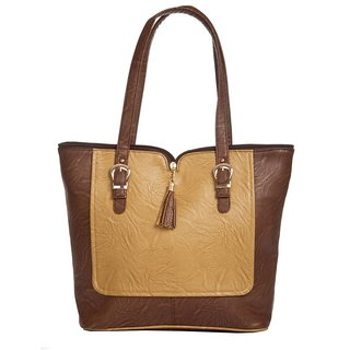 Aliado Brown Self Design Tote bag for women