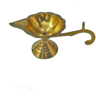 BRASS DIYA, OIL LAMP FOR TEMPLE, AKHAND DIYA JYOT FOR HOME OFFICE TEMPLE DIFFUSER POOJA ACCESSORIES BY Gifts  Decor