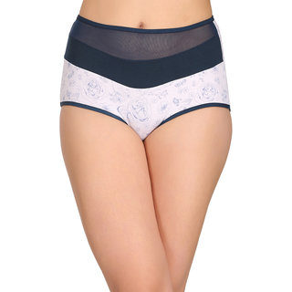 0db97eff18ad Clovia Cotton High Waist Floral Print Hipster Panty With Powernet Panel -  (PN2266P08-S)