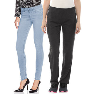 Fuego Fashion Wear Combo of Jeans and Lower For Women -Pack of 2