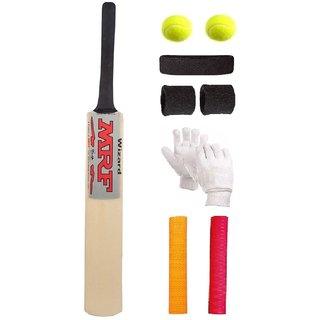 MRF Silver Sticker Poplar/Popular Willow Cricket Bat (For Tennis Ball) Size-4 Combo (Kit of 6 Items)