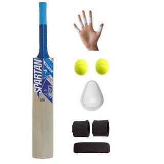 Spartan Blue Sticker Poplar/Popular Willow Cricket Bat (For Tennis Ball) Size-5 Combo (Kit of 6 Items)