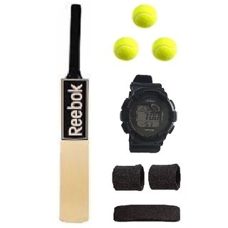 branded Black Sticker Poplar/Popular Willow Cricket Bat (For Tennis Ball) Full Size Combo (Kit of 5 Items)
