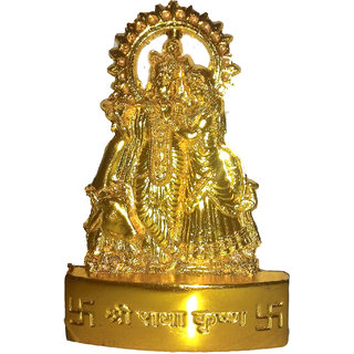 Gold plated Radha Krishna Idol - 7 cms