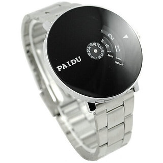 ba63f91be59e New Men look Stainless Silver Band PAIDU brand handsome and wise Wrist Watch  Black Turntable Dial