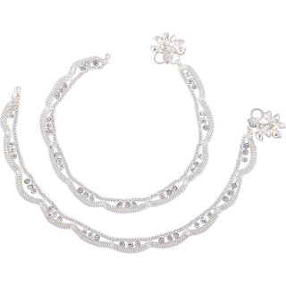 Urbanela Silver Toned Anklets Studded With Multicolor Stones- Set of 2 ADUANK104