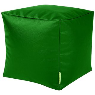 InkCraft Square Bean Bags Foot Stool Bean Pouffe with Beans-Green
