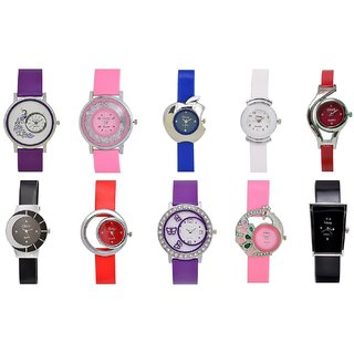 TRO-AS-105 Analogue Multi-Colour Dial Women's Watch (Combo of 10)