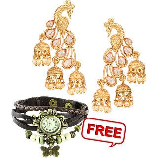 Pourni exclusive Designer American Diamond peacock shapped Jhumka Earring -KRER39 combo