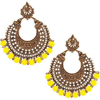 JewelMaze Yellow Beads Antique Gold Plated Afghani Earrings-1311022K