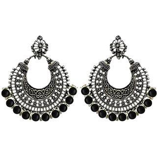 JewelMaze Black Beads Rhodium Plated Afghani Earrings-1311073B
