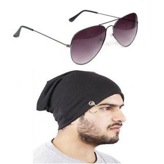 f127b93b84c Buy Yuvi Black Gray Sunglasses Bennie Cap Pack of 2 Online - Get 72% Off