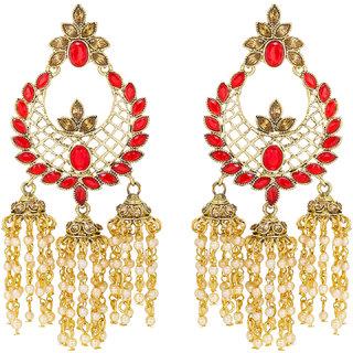 Aadita Designer Multi Strand Pearl and American Diamond Chandelier Jhumke Earrrings for Women