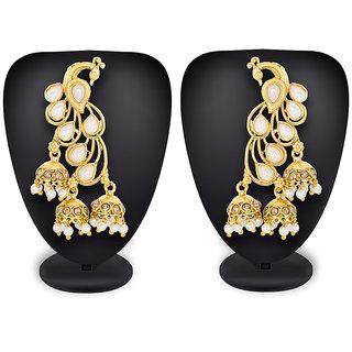 Aadita Ethnic Traditional Gold Plated Pearl Stone Chandbali Alloy Jhumki Earrings for Women and Girls