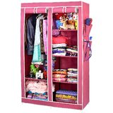 ARSH Portable And Collapsible Wardrobe Metal Frame 6 Racks Closet, AW06,  Maroon With High