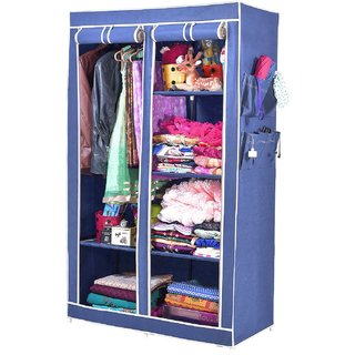 ARSH portable and collapsible Wardrobe Metal Frame 6 Racks Closet AW06 Blue with High Capacity up to 70kgs