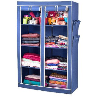 ARSH Portable And Collapsible Wardrobe Metal Frame 8 Racks Closet, AW08,  Blue With High Capacity Up To 70kgs