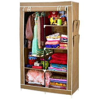ARSH portable and collapsible Wardrobe Metal Frame 6 Racks Closet AW20 Beige with High Capacity up to 70kgs