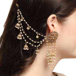 Aadita Bahubali Design Heavy Earrings with Hair Chain for Women and Girls