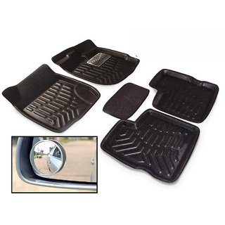 Premium Quality Combo Offer For 4D Car Floor Mat-Maruti Suzuki-Swift-Black+Free-2Pcs-Blind-Spot-Mirror