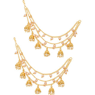 Aadita Fashion Jewellery Gold-Plated Jhumki Earrings With Hair Chain For Women
