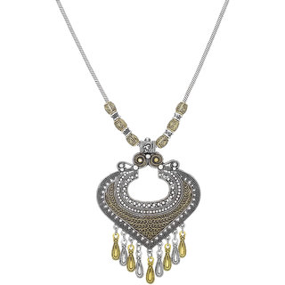 Aadita Greman Oxidised Tribal Design Silver Plated Heavy Pendant for Women and Girls