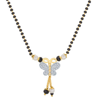 Aadita Ethnic Traditional Daily Wear Gold Plated Temple American Diamond Pearls and Beads Mangalsutra for Women