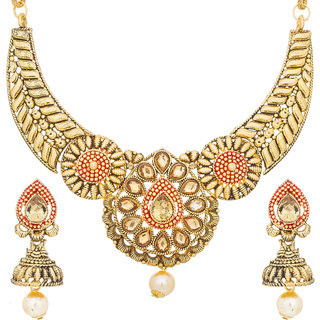 75f1f97def9 Aadita Traditional Gold Plated American Diamond Choker Necklace Wedding  Bridal Jewellery Sets for Women and Girls
