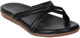 Do Bhai Women's Black Flats - 135480956