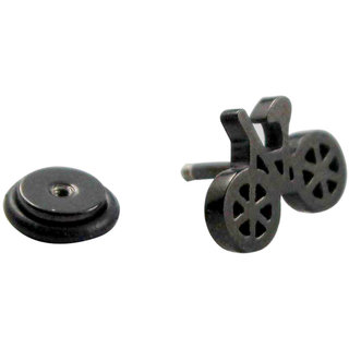 Wise Pebble Black Cycle Stainless Steel Single Ear Stud For Men