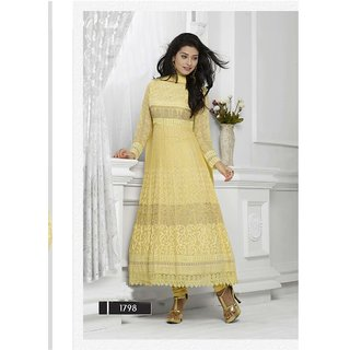 Fabliva Light Yellow Embroidered Chiffon Straight Suit (Unstitched)