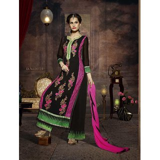 FABLIVA BLACK, PINK  GREEN EMBROIDERED GEORGETTE STRAIGHT SUIT (Unstitched)