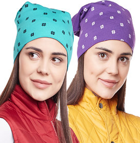 Vimal-Jonney Printed Purple And Printed Turqouise Beanie Cap For Women(Pack Of 2)