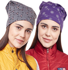 Vimal-Jonney Printed Dark Grey And Printed Purple Beanie Cap For Women(Pack Of 2)
