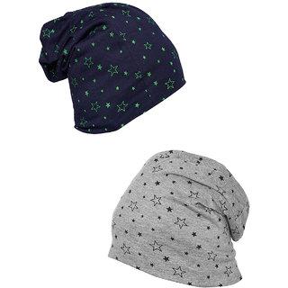 Vimal-Jonney Printed Navy Blue And Melange Grey Beanie Cap For Women(Pack Of fd1ffa66317